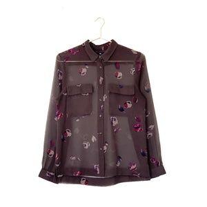 gap sheer floral print button down shirt